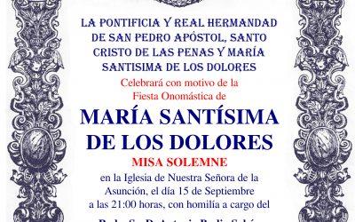 Solemne Misa – Onomástica de María Stma. de los Dolores